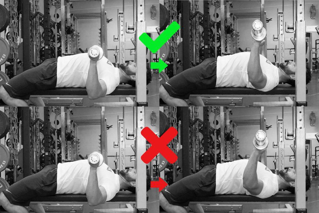 Développé couché : le haut est acceptable : les coudes sont légèrement au devant de la barre en bas du mouvement, puis reviennent rapidement sous la barre. Le bas est incorrect : les coudes commencent devant la barre, puis restent dans cette position.